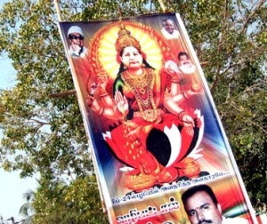 Ms. Jayalalitha depicted as Goddess Lakshmi